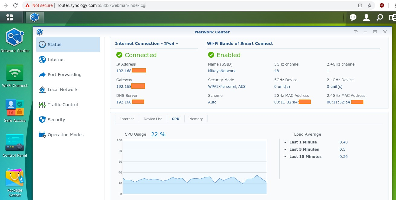 Synology RT2600ac router status